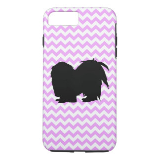 Pink Chevron With Shih Tzu Silhouette iPhone 7 Plus Case
