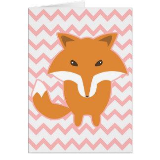 Pink Chevron, Zig Zag, Fox Illustration Greeting Card