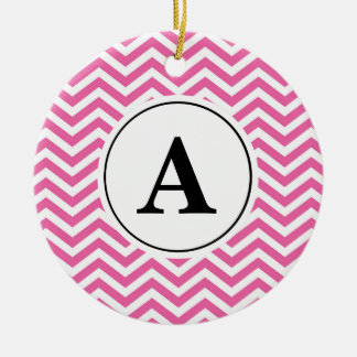Pink Chevron Zig Zag Pattern Monogram Christmas Ornament