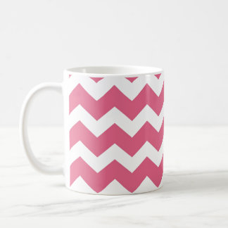 Pink chevron zigzag pattern modern trend basic white mug