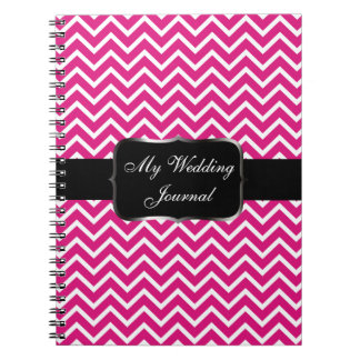 Pink Chevron Zigzag Stripes Spiral Notebook