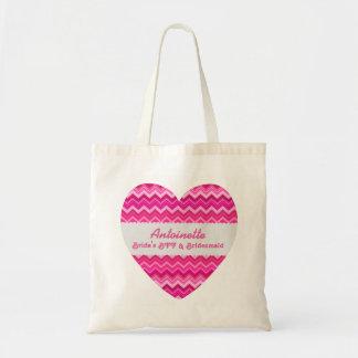 Pink Chevrons BFF and Bridesmaid Custom Name Budget Tote Bag