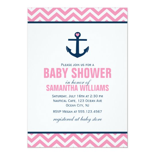 Pink Chevrons Nautical Girl Baby Shower Card