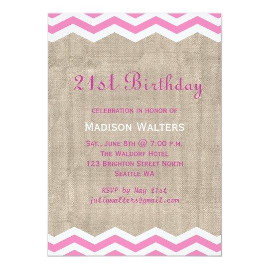 Pink Chevrons on Burlap Birthday Invitation