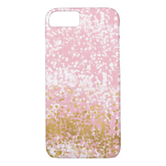 Pink Chic Sparkly Gold Bubbly Confetti iPhone 8/7 Case