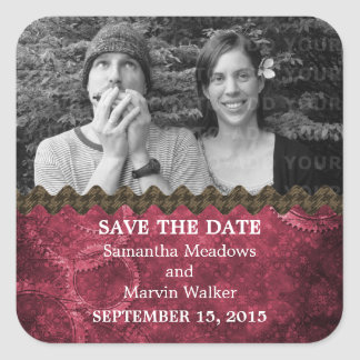 Pink Chic Steampunk Photo Save the Date Stickers