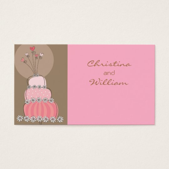 Pink Chic Wedding Cake Guest Escort Place Card