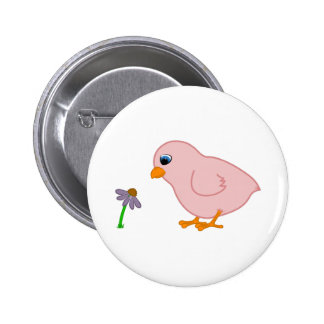 Pink Chick with Purple Coneflower 6 Cm Round Badge
