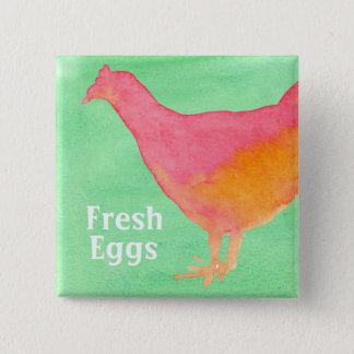 Pink Chicken Farm Fresh Eggs 15 Cm Square Badge