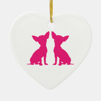 Pink Chihuahua dog cute hanging heart ornament