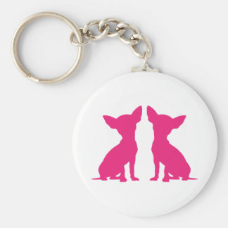 Pink Chihuahua dog cute keychain, gift idea Basic Round Button Key Ring