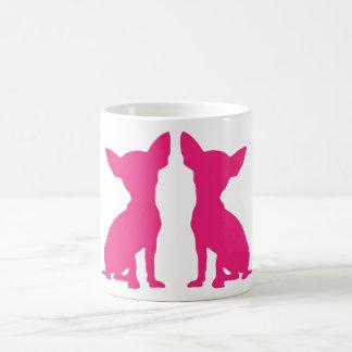 Pink Chihuahua dog cute silhouette mug, gift idea Basic White Mug