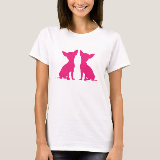 Pink Chihuahua dog silhouette cute ladies t-shirt