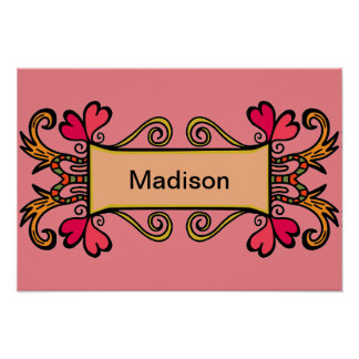 Pink Child's Name Girly Heart Cute For Kids Room Poster
