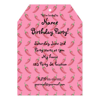 Pink chili peppers pattern 13 cm x 18 cm invitation card