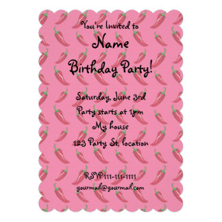 Pink chili peppers pattern custom invite