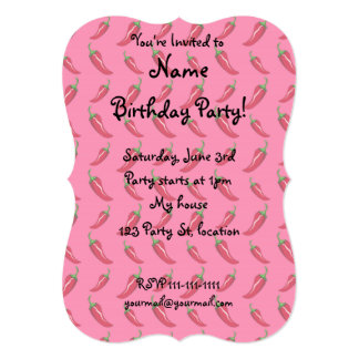 """Pink chili peppers pattern 5"""" x 7"""" invitation card"""