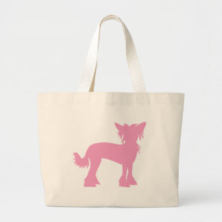 Pink Chinese Crested Silhouette Large Tote Bag
