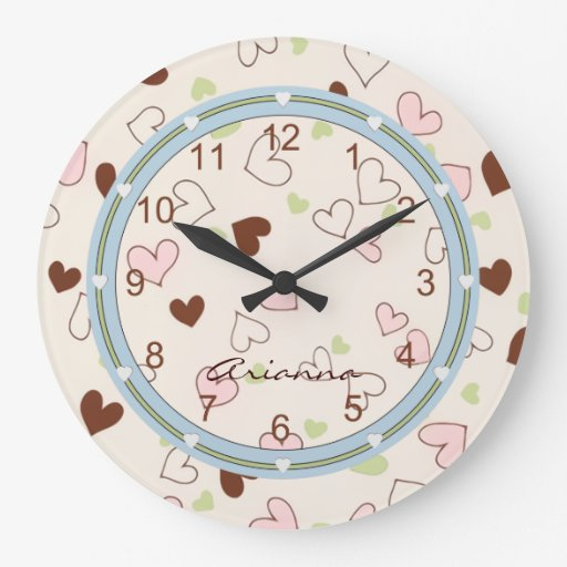 Pink Chocolate and Lime Hearts Print Clock