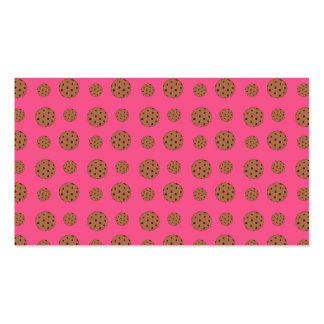 Pink chocolate chip cookies pattern business cards