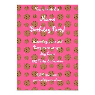 Pink chocolate chip cookies pattern 13 cm x 18 cm invitation card