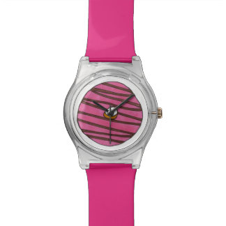 Pink Chocolate Frosted Zebra Donut Doughnut Watch