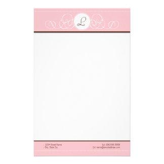 Pink & Chocolate Pink Monogram Stationery