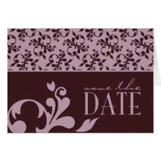 Pink & Chocolate Save The Date Card