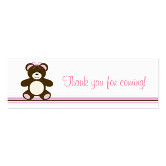 Pink Chocolate Teddy Bear Favor Gift Tags Pack Of Skinny Business Cards
