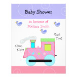 Pink Choo Choo Train Baby Shower Announcements