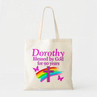 PINK CHRISTIAN 90TH BIRTHDAY PERSONALIZED TOTE BAG
