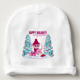 Pink Christmas Adorable Puppy Cartoon Baby Beanie