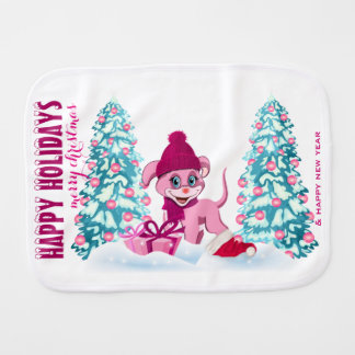 Pink Christmas Adorable Puppy Cartoon Burp Cloth