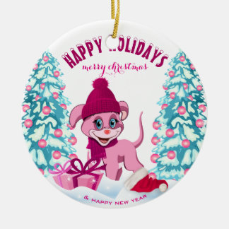 Pink Christmas Adorable Puppy Cartoon Christmas Ornament