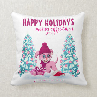 Pink Christmas Adorable Puppy Cartoon Cushion