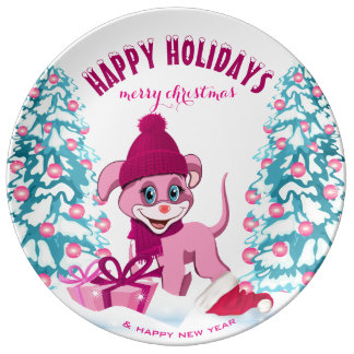 Pink Christmas Adorable Puppy Cartoon Plate