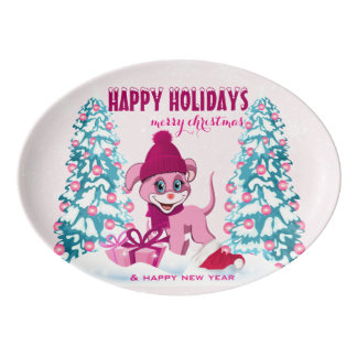 Pink Christmas Adorable Puppy Cartoon Porcelain Serving Platter