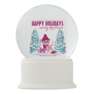 Pink Christmas Adorable Puppy Cartoon Snow Globe