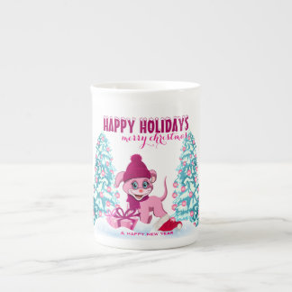 Pink Christmas Adorable Puppy Cartoon Tea Cup