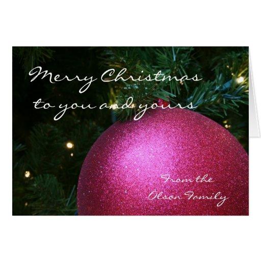 Pink Christmas Ball Card