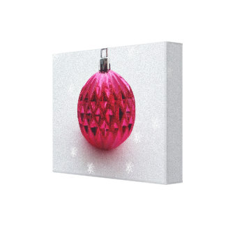Pink Christmas bauble Canvas Print