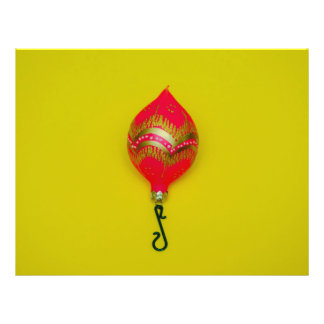 Pink Christmas bauble on a yellow background 21.5 Cm X 28 Cm Flyer