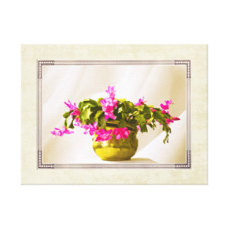 Pink Christmas Cactus Portrait Canvas Print