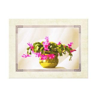 Pink Christmas Cactus Portrait Stretched Canvas Print