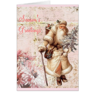 pink Christmas card and Santa