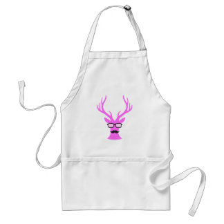 Pink Christmas deer with mustache and nerd glasses Adult Apron