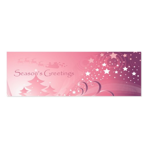 Pink Christmas Gift Tag Business Card Template