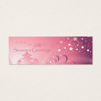 Pink Christmas Gift Tag Mini Business Card