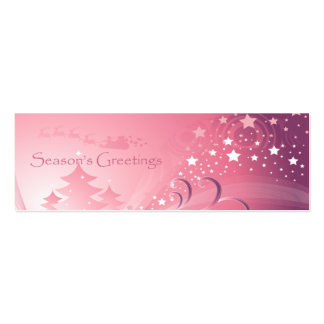 Pink Christmas Gift Tag Pack Of Skinny Business Cards