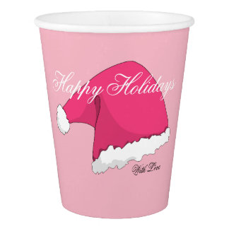 Pink Christmas Paper Cup